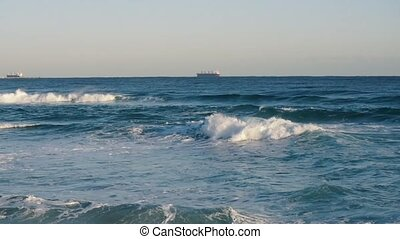 Rough Waves And Blue Sky. Waves of a beach on the East Sea...