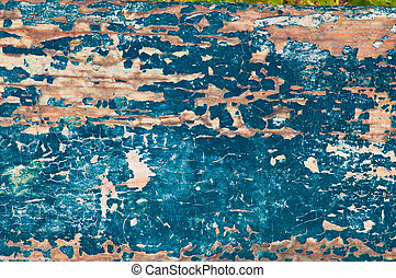 Rough wooden background with peeling paint