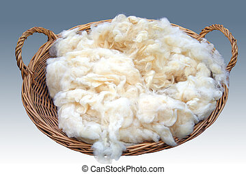 Rough wool  - Basket of rough wool