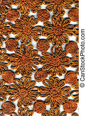 Rough Woven Fabric Material - Floral Pattern