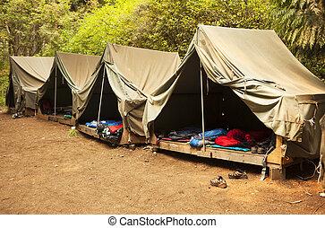 roughing het, op, zomer kamp