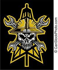 roughneck, cráneo, oilfield, logotipo