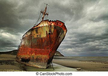 rouillé, abandonnés, naufrage