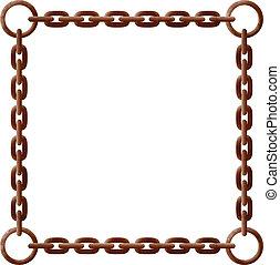 rouillé, cadre, chaîne