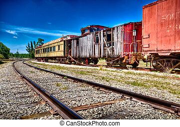 rouillé, chariot, trains