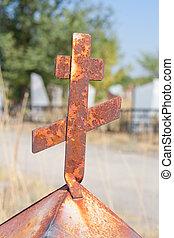 rouillé, croix, sur, les, cimetière