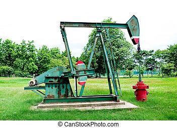 rouillé, huile, vieux, pompe