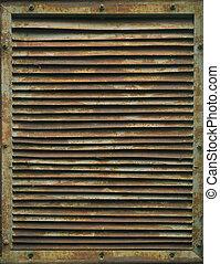 rouillé, industriel, vieux, grille., ventilation