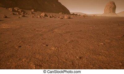 rouillé, martien, fantastique, orange, paysage, nuances