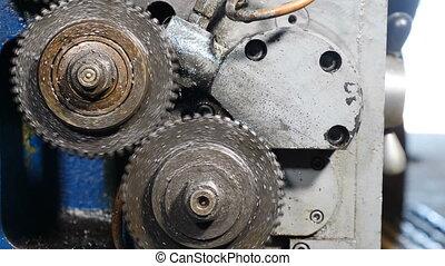 rouillé, opération, machinerie, processing., k, roues, ...