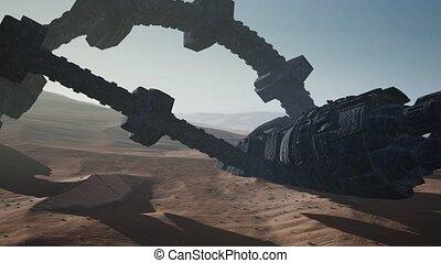 rouillé, vieux, desert., ovnis, étranger, vaisseau spatial