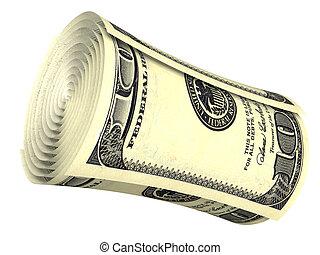 roulé, dollar, isolé, billet banque