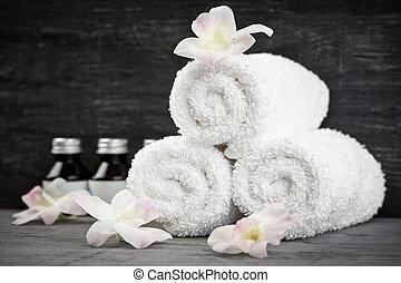 roulé, spa, haut, serviettes