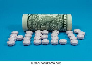 roulé, tablettes, américain, dispersé, billet banque