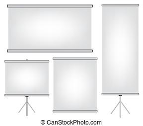 rouleau, écran, bannière, projecteur, haut