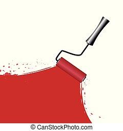 rouleau, blanc, peinture, fond, rouges