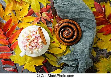 rouleau, cahier, chignon chocolat, guimauves, wiht, automne, café, feuilles, séché