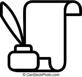 rouleau, contour, papier, vector., illustration, symbole, parchemin, isolé, icône