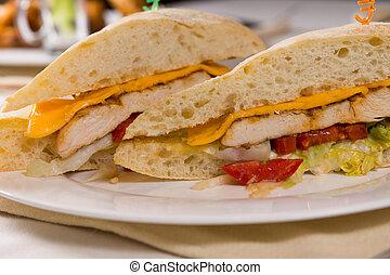 rouleau, fin, sandwich, haut, ciabatta