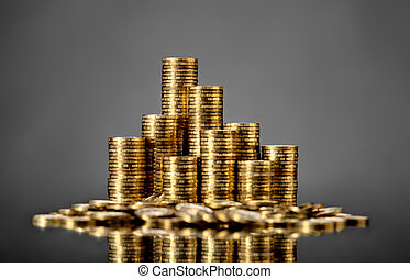 rouleau gold coin - still life of very many rouleau gold ...