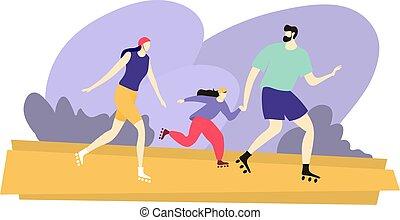 rouleau, parc, père, fille, heureux, promenade, illustration...