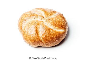 rouleau, sommet, fond, blanc, vue, pain