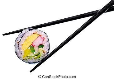 rouleau sushi, à, noir, baguettes, isolé, blanc, fond