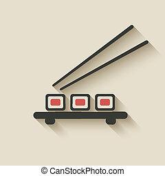 rouleau sushi, icône
