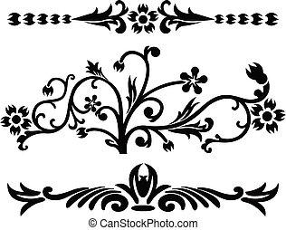 rouleau, vecteur, cartouche, illustration, décor