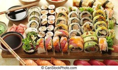 rouleaux, bois, japonaise, sushi, divers, nourriture, au-...