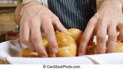 rouleaux, compteur, serveur, mâle, arrangement, pain, 4k