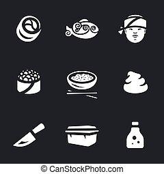 rouleaux, ensemble, icônes, wasabi, sushi, -, conditionnement, fish, riz, oeufs, soja, sauce., couteau, maître