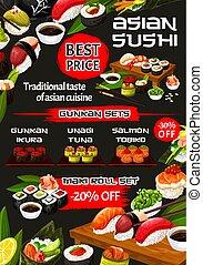 rouleaux, fish, sushi, japonaise, temaki, fruits mer, nigiri