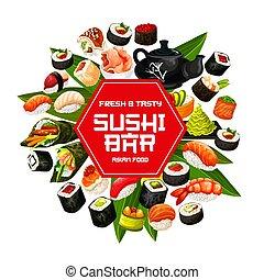 rouleaux, fruits mer, sushi, japonaise, temaki, nigiri