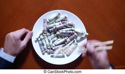 rouleaux., manger, dollars, dollar, baguettes, mains, homme affaires
