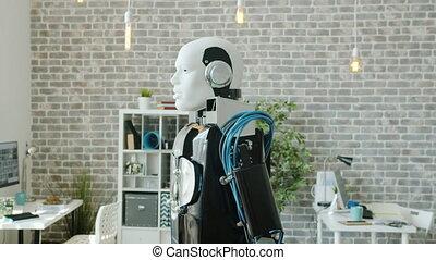rouler, autour de, non, robot, bureau, salle, frais, humain-...