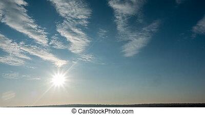 rouler, beau, bleu, espace, ciel, nature, nuage, film, temps...