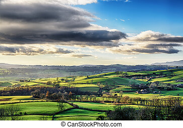 rouler, campagne, cumbria., anglaise