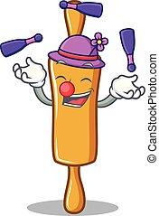 rouler, caractère, jonglerie, épingle, dessin animé