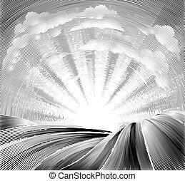 rouler, champs, collines, woodcut, soleil