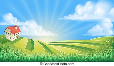rouler, champs, ferme, collines