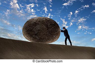 rouler, homme affaires, géant, pierre