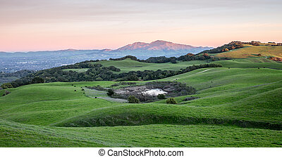 rouler, montagne, herbeux, collines