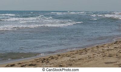 rouler, plage sable, mer, vagues
