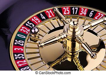 roulett, cylinder, förmögenhet, lek