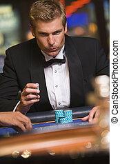 roulett, kasino, mann, tisch, gluecksspiel
