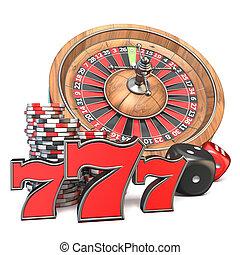 roulett, spielwürfel, 777, und, spielen chips, 3d