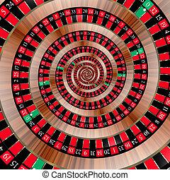 roulett, spiralling, unten