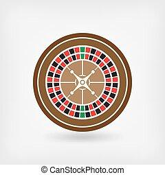 roulett, symbol, kasino, europäische , wheel.
