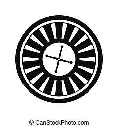 roulett, symbol, kasino, ikone